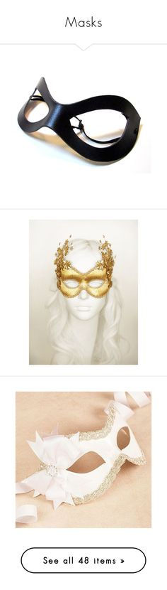 """Masks"" by flamingsky ❤ liked on Polyvore featuring masks, masquerade, home, home decor, grey, home & living, home décor, ornaments & accents, gold home accessories and white home decor"