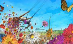 Digitaltrykk på tykt papir (300 gr Scandia 2000 eller tilsvarende) Størrelse: 45 x 32 cm Trykket er signert Illustrator, Lisa, Illustration Art, Marvel, Seasons, Nature, Anime, Painting, Inspiration