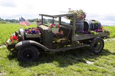 Old Truck Planter. Could use that old jeep...lol