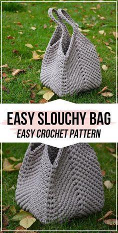 Crochet pattern Easy Slouchy Bag - easy crochet bag pattern for beginners . Crochet pattern Easy Slouchy Bag - easy crochet bag pattern for beginners - bags and cups - Crochet Simple, Free Crochet Bag, Crochet Market Bag, Crochet Tote, Crochet Handbags, Crochet Purses, Crochet Crafts, Double Crochet, Crochet Hooks
