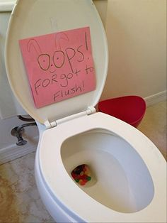 Put jelly beans in the toilet - kids love this! Except make the note say that the Easter Bunny didn't want to wake anyone by flushing. I'd probably fish out the jelly beans though, so as not to clog the toilet. Hoppy Easter, Easter Eggs, Easter Jokes, Easter Table, Funny Easter Quotes, Real Easter Bunny, Funny Easter Pictures, Easter Cartoons, Happy Easter Quotes