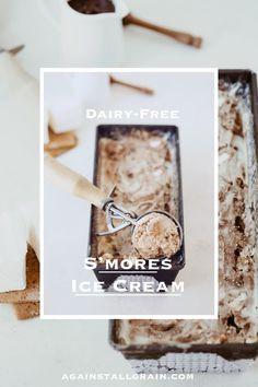 A decadent fudge swirl, bits of marshmallows & graham cracker crunch makes this Dairy-Free S'mores Ice cream a must have. Paleo & Gluten-Free! #againstallgrain #daniellewalker #frozendesserts Easy Gluten Free Desserts, Dairy Free Recipes, Paleo Recipes, Healthy Desserts, Healthy Food, Healthy Eating, Paleo Ice Cream, Ice Cream Recipes, Paleo Chocolate