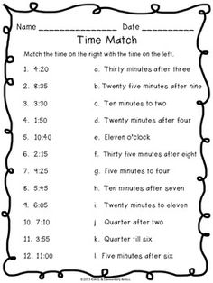 TELLING TIME WORKSHEET PACK & CENTER/GAME {PRINTER FRIENDLY} - TeachersPayTeachers.com Perfect for first and second grade practice.