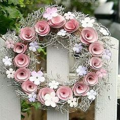 Flower Heart Wreath by Beautiful Day, the perfect gift for Explore more unique gifts in our curated marketplace. Paper Flower Wreaths, Pink Wreath, Flower Crafts, Paper Flowers, Floral Wreath, White Wreath, Dry Flowers, Wooden Flowers, Fabric Flowers