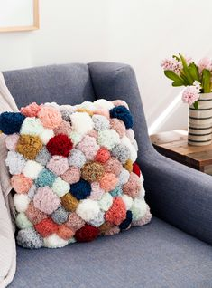Cactus Flower Pom Pillow – Famous Last Words, Craft Stick Crafts, Diy And Crafts, Arts And Crafts, Wooden Crafts, Preschool Crafts, Pom Pom Crafts, Yarn Crafts, Felt Crafts, Diy Pillows