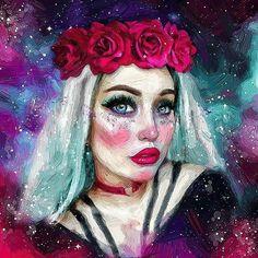 #digitalart #digitalpainting #oilpainting #portrait #beauty #beautiful#glitter #makeup #eyes#roses#purple#paslelhair#followers#cute#cutie #girl #flowercrown #instagood #picoftheday #my#art#work#pretty#pink#heart #choker