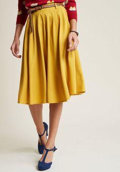 5496d2af6a Breathtaking Tiger Lilies Midi Skirt in Mustard in 2X - Full Skirt Long  Black Midi Skirt