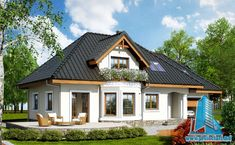 Проект жилого дома с мансардой и гаражом   Proiectari si Constructii Cottage House Plans, Cottage Homes, Design Case, Home Fashion, Cozy, House Design, How To Plan, House Styles, Small Houses