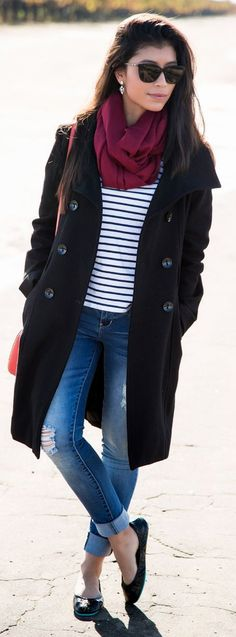 Black Casual Peacoat by Stylishly Me
