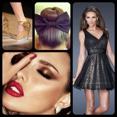La Femme style 19403 - black dress - little black dress - cocktail dress - makeup - red lipstick - heels - gold heels - bun - bow - sock bun - homecoming dress - prom dress - new years dress - pretty - model - fashion - style