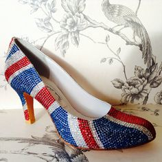 Union Jack shoes - Handmade by Marsha Hall -  Hand encrusted with over 3,000 jewels per shoe - - Perfect bespoke shoes for Wedding's, Special occasions, and everyday -  For more information visit Marsha Hall's website - http://www.marshahall.com/