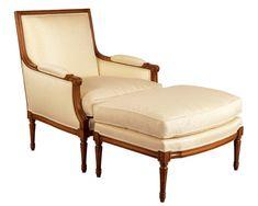 Louis J Solomon Louis XVI Bergere & Ottoman Traditional Decor, Traditional Styles, Louis Xvi, Solomon, Luxury Furniture, Ottoman, Armchair, Vintage Fashion, Antiques