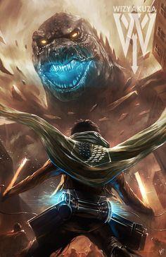 Ataque contra Titan vs Godzilla - Crossover - 11 x 17 impresión Digital