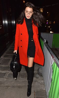 Black sweater-dress+black over the knee boots+red wool coat+black handbag. Fall Evening Outfit 2016