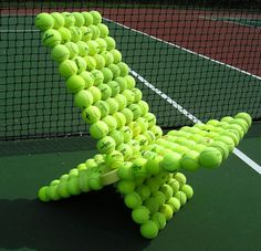 tennis balls chair.... I'm going to have to make one