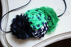 Kelly Green and Navy headband, kelly green headbands, rosette headbands, flower headbands, photography prop on Etsy, $13.95