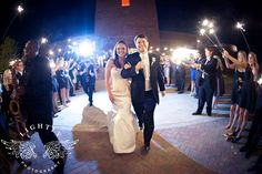 Lightly Photography by Sarah Rizy - Wedding photography at the Fort Worth Museum of Science and History - Front Steps - Sparklers and a saxophone!  What better way to begin a new life together?