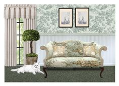 """""""Toile"""" by sjlew ❤ liked on Polyvore featuring interior, interiors, interior design, home, home decor, interior decorating, J. Queen New York, Uttermost, The Pillow Collection and Snowden Flood"""