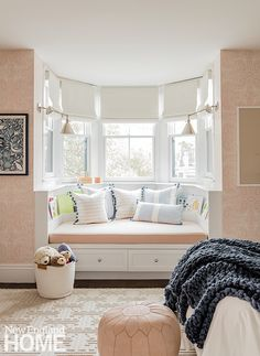 Pops of pink in the daughter's room, such as Hygge & West's blush Andanza wallpaper, are grounded by blue accents. Boston Brownstone, Creative Kids Rooms, Hickory Chair, Vintage Interior Design, New England Homes, Visual Comfort, House And Home Magazine, Kid Spaces, Home Decor Furniture