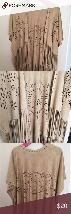 Beautiful fringe vest fits any size! Really detailed suede Fringe vest/shall Jackets & Coats Vests
