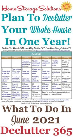Free printable June 2021 #decluttering calendar with daily 15 minute missions. Follow the entire #Declutter365 plan provided by Home Storage Solutions 101 to #declutter your whole house in a year. Deep Cleaning Tips, House Cleaning Tips, Spring Cleaning, Cleaning Hacks, Cleaning Checklist, Clean Baking Pans, Home Storage Solutions, Clean Freak, Declutter Your Home