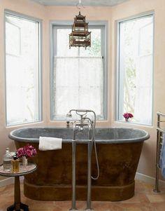 1860s zinc lined copper bath tub