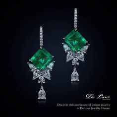 """De Laur Jewelry House (@delaurjewelry) on Instagram: """"Mesmerizing butterfly shaped earrings with emeralds and diamonds from Limited Edition of De Laur."""