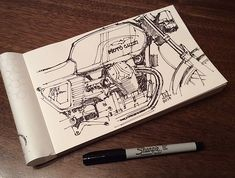 Downshift Studio Sketches Jeremy Lacy is a Industrial Designer who eats, sleeps and breathes anything and everything Moto related. Your work consists of loose freehand sketches and renderings creat Moto Guzzi, Guzzi V7, Cafe Racer Honda, Cafe Racer Motorcycle, Motorcycle Art, Bike Art, Ducati, Yamaha, Cafe Racer Mexico