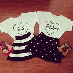 White Short Sleeve BITCHES Heart Print T-Shirt