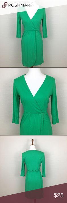 Jade Green V-neck Dress Vibrant vneck faux wrap dress. Sleeves are 3/4 length. Brand is Kenar. Color is a beautiful jade green. EUC Kenar Dresses