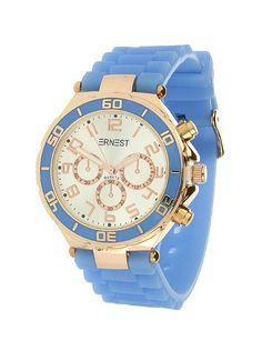 Ernest Horloge Rose Goud - Blauw is een prachtig rose gouden horloge met een…