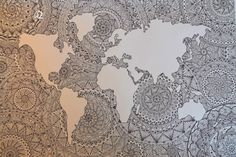 When the Mandala Madness hits you and this is the result :D Past, Vintage World Maps, Mandala, Madness, Prints, Artwork, Inspiration, Website, Work Of Art