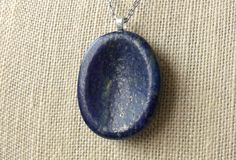 Lapis Lazuli Worry Stone Necklace / Thumb Stone / Palm Stone / Prayer Stone…