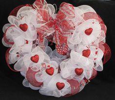 Heart Shaped Deco Mesh Valentine Wreath w/glitter hearts