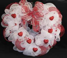 Heart Shaped Deco Mesh Valentine Wreath w/glitter hearts