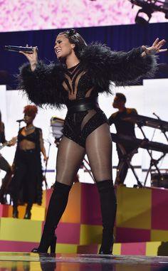 Demi Lovato at the 2015 iHeartRadio Music Festival at the MGM Grand Garden Arena in Las Vegas, Nevada.