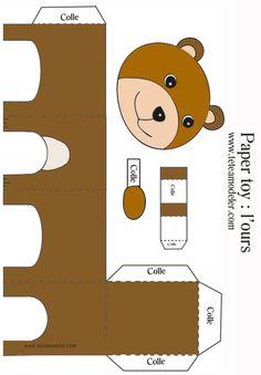 imprimer le paper toy Ours - Tête à modeler