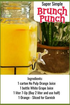 7 Easy Punch Recipes For a Crowd - Simple Party Drinks Ideas (both NonAlcoholic and With Alcohol Easy Brunch Punch Recipe for a crowd - Easy Punch Recipes for a Crowd and Easy Party Drinks Ideas - Cranberry Vodka Punch, Pineapple Orange Juice A Punch Recipe With Sprite, Punch Recipe For A Crowd, Cocktail Recipes For A Crowd, Easy Punch Recipes, Food For A Crowd, Brunch Recipes, Breakfast Recipes, Brunch Ideas For A Crowd, Alcoholic Punch Recipes