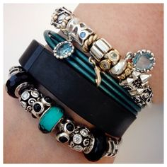 """""""My fiancé surprised me with the gold charms for my fairy tale themed PANDORA bracelet. I've paired it with my Teal and black bracelets, and Fitbit flex to ensure a magical workday at Disney."""" #MyPANDORA by @nil8r"""