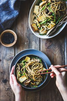 Hot Sesame Rice Noodles with Asparagus, Shiitakes and Pea Shoots (vegan)