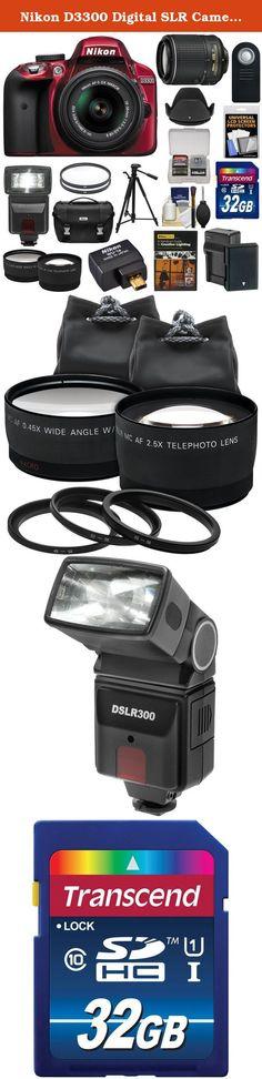 Nikon D3300 Digital SLR Camera & 18-55mm (Red) & 55-200mm VR II Lens + WU-1a Wi-Fi Adapter + 32GB + Case + Battery + Tripod + Flash + 2 Lens Kit. Kit includes: ♦ 1) Nikon D3300 Digital SLR Camera & 18-55mm VR II Lens (Red) ♦ 2) Nikon 55-200mm G VR II Lens ♦ 3) Nikon DSLR Camera Case ♦ 4) Nikon WU-1a Wi-Fi Mobile Adapter ♦ 5) Nikon School - Creative Lighting DVD ♦ 6) Transcend 32GB SecureDigital (SDHC) Class 10 Memory Card ♦ 7) Spare EN-EL14/a Battery for Nikon ♦ 8) Battery Charger for…