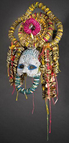 Lucien Shapiro masks made of bottle caps, twist ties, etc