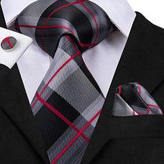 CAOFENVOO Cravate Hanky Cufflinks solides Jacquard en soie tissée cravate  de soirée de mariage une affaire d hommes 0e55791b092
