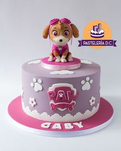 Torta temtica de skye patrulla canina con topper en skye paw patrol cake a paw patrol rubble cookie dough cake loaded with a chocolate drip cookie dough balls and a ton of candy! Paw Patrol Sky Cake, Girls Paw Patrol Cake, Torta Paw Patrol, Paw Patrol Birthday Girl, Paw Patrol Party, Birthday Cake Girls, Card Birthday, Birthday Greetings, Birthday Ideas