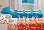 Cute idea for a sleepover party - set tables to look like a bed!