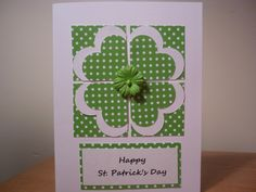 St.Patrick's Day card ... layered hearts make a quilt block style panel ... white and green paper with white polka dots ... like it!!