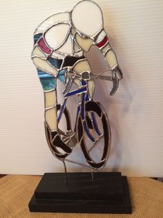Bike Racer - original stained glass piece by Beth Sain Shuford.