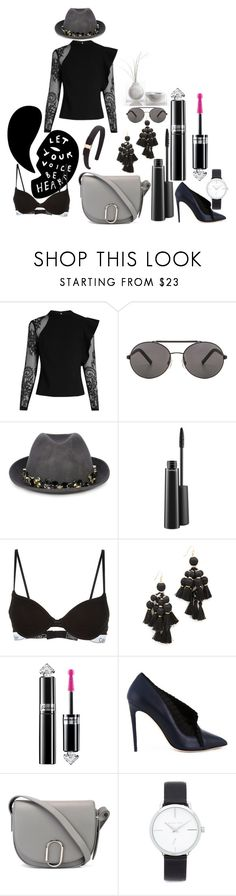 """""""Black women fashion"""" by racheal-taylor ❤ liked on Polyvore featuring self-portrait, Seafolly, Le Chapeau by Alakazia, MAC Cosmetics, Calvin Klein, Kate Spade, Guerlain, Olgana, 3.1 Phillip Lim and Michael Kors"""