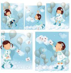 Elements of girl blue balloon master Vector