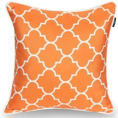 Orange quatrefoil indoor outdoor cushion cover A pop of color! Outdoor Cushion Covers, Outdoor Cushions, Silk Pillow, Quatrefoil, Garden Planning, Color Pop, Indoor Outdoor, Modern Design, Throw Pillows